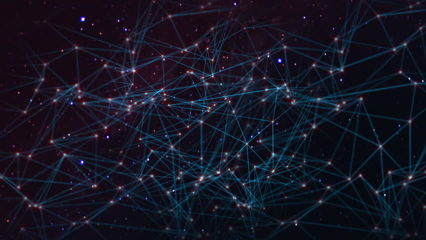 Network with nodes connected background. Technology concept #1014124709