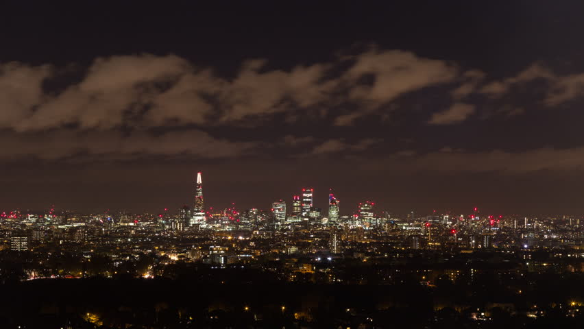 Fireworks and the City of London as seen from a distance.
