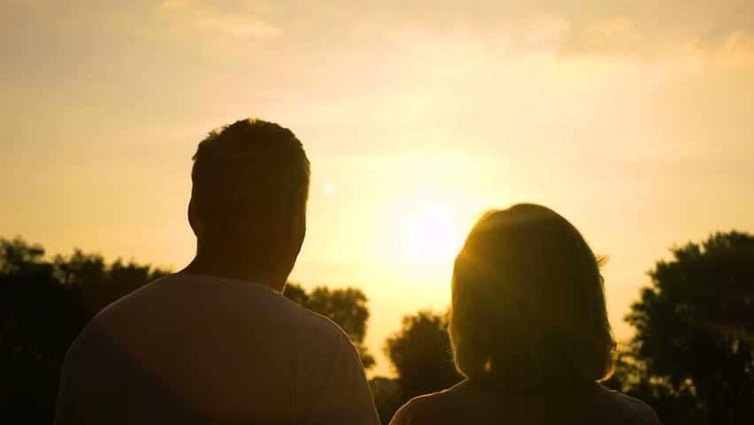 Silhouette of senior couple watching sunset together, secure old age, well-being