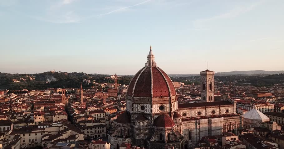 Florence, Tuscany, Italy - 21 June 2018. Aerial view on the city and Cathedral of Santa Maria del Fiore
