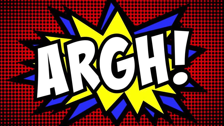 A comic strip cartoon animation, with the word Argh appearing. Green and halftone background, star shape effect.