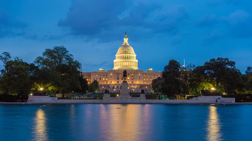Washington DC, USA - May 16, 2018: 4k timelapse video of United States Capitol