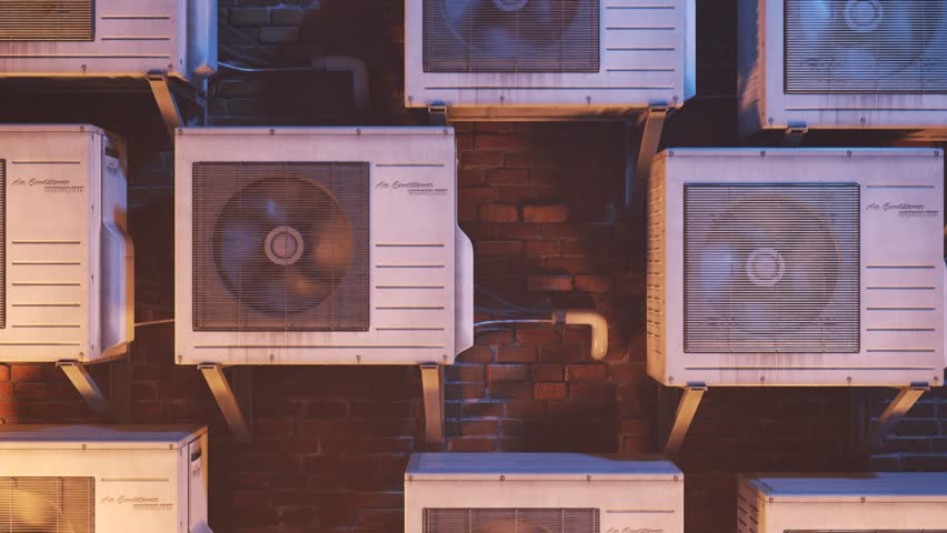 03601 Multiple outdoor air-conditioner units on the wall. Camera moving up in endless loop.