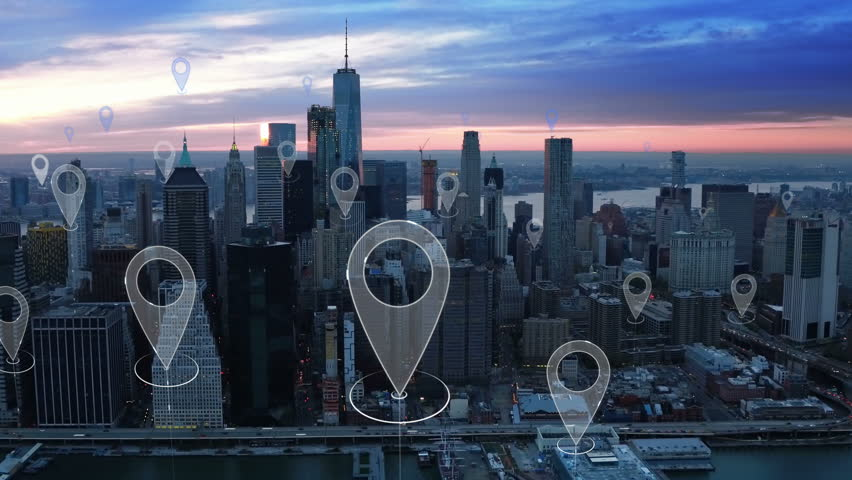 Aerial smart city. Localization icons in a connected futuristic city.  Technology concept, data communication, artificial intelligence, internet of things. New York City skyline. | Shutterstock HD Video #1014237818