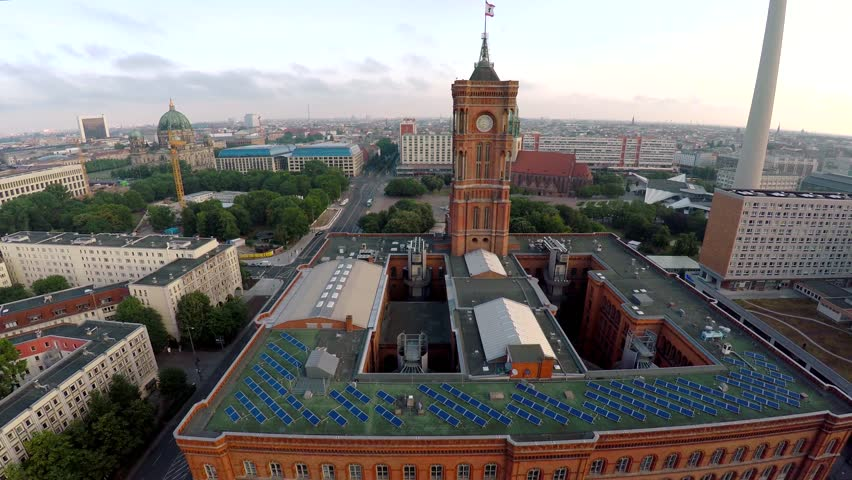 Aerial view. Red Town Hall. City Senate. Berlin. Germany. Shot in 4K (ultra-high definition (UHD).