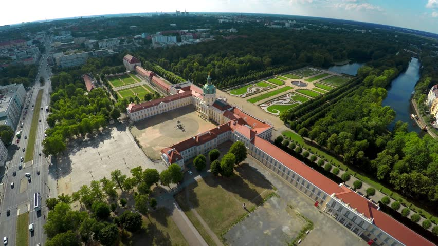 Aerial view. Charlottenburg Palace. Schloss Charlottenburg. Berlin. Germany. Shot in 4K (ultra-high definition (UHD).
