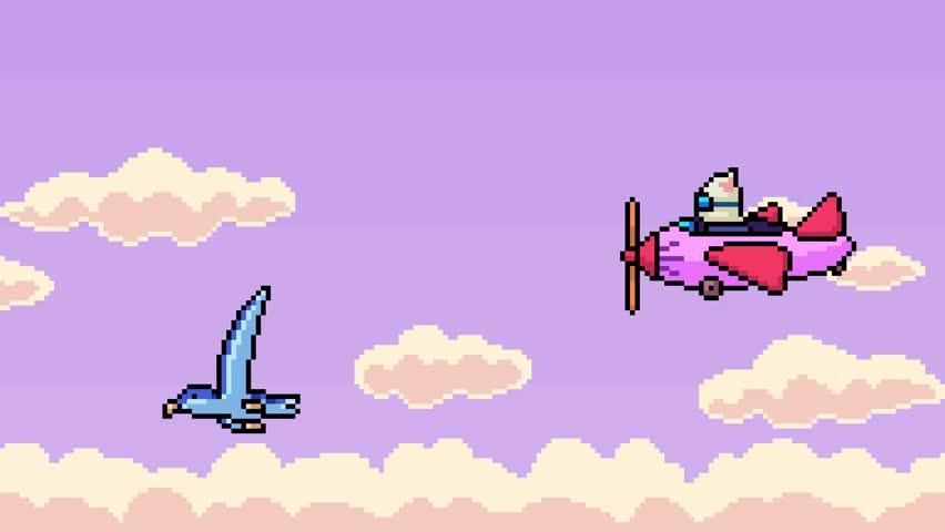 Animation pixel art bird airplane flying on sky
