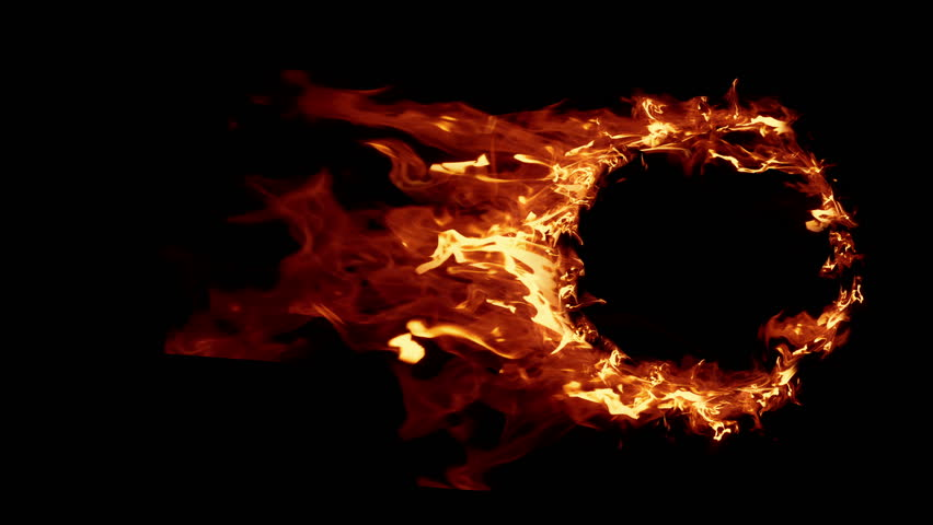 Fire Ball Explosion, Cross Frame Ahead Transition. Ring of Fire in slow motion. Perfect loop of flaming ring, for compositing. Set of Beautiful Ring of Fire Looped isolated.
