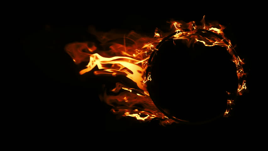 Ring of Fire in slow motion. Fire Explosion, Cross Frame Ahead Transition. Perfect loop of flaming ring, for compositing. Set of Beautiful Ring of Fire Looped isolated.