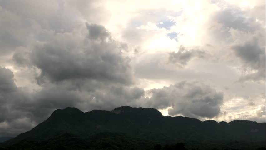 Mountain in the evening and rainy weather moving clouds. 4k timelapse at Phetchabun   Shutterstock HD Video #1014349775