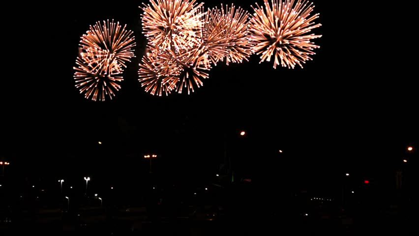 With sound. Colourful fireworks in honour of a holiday   Shutterstock HD Video #1014355097