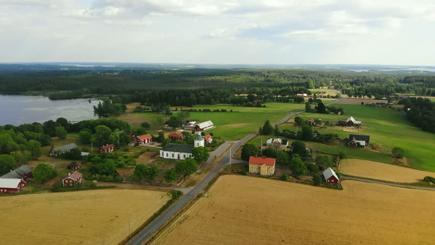 Aerial view of village in Smaland in Sweden