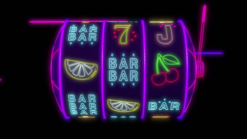 Neon slot machine hitting a 777 jackpot. UHD - 4K - 3D Rendering