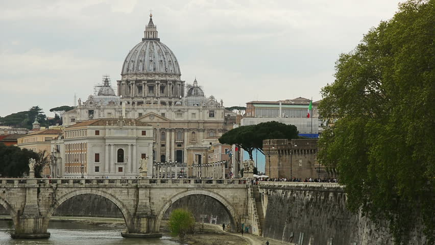 Sant'Angelo Bridge over the Tiber river and St. Peter's Basilica, Rome, Italy   Shutterstock HD Video #1014391931