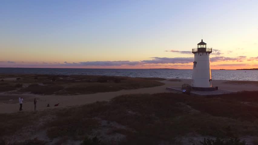 Aerial shot of a beautiful sunrise over the lighthouse in Edgartown, Martha's Vineyard, Massachusetts