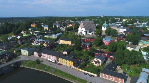Medieval Cathedral in the old town on the July day (aerial). Porvoo, Finland