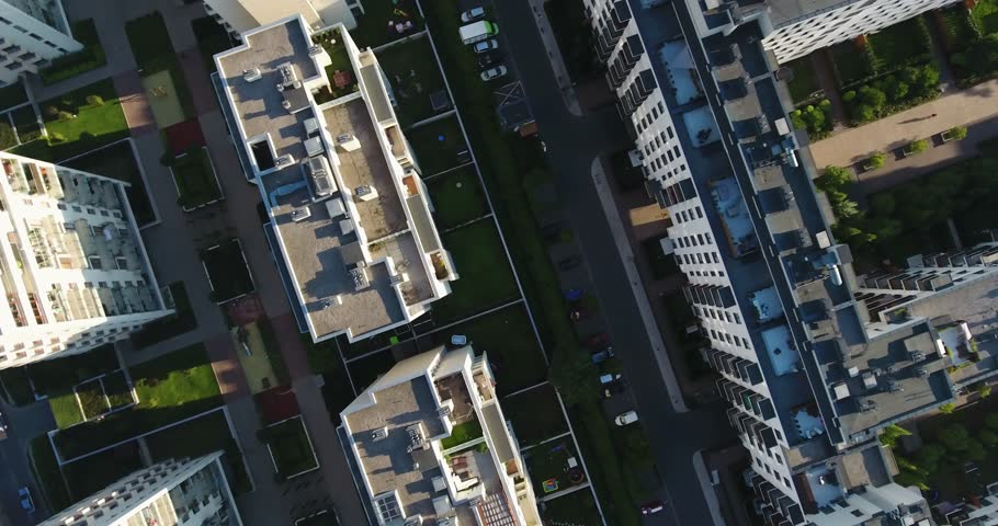 Overhead Drone Shot. Rooftops, Streets, People. Lifestyle #1014411443