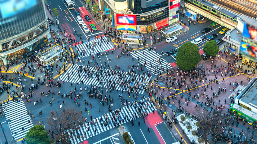 4K.Time lapse Aerial view of Shibuya crossing in Tokyo of Japan | Shutterstock HD Video #1014418799