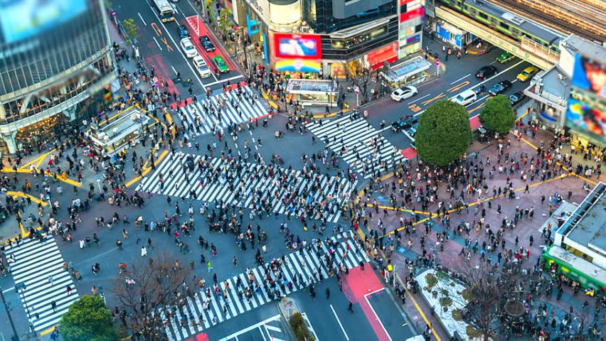 4K.Time lapse Aerial view of Shibuya crossing in Tokyo of Japan | Shutterstock HD Video #1014418799