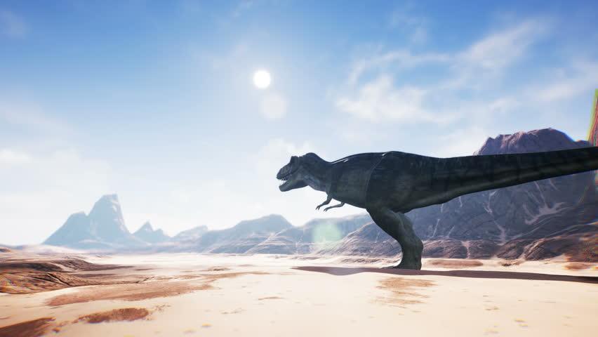 T Rex Tyrannosaur Dinosaur animation in desert.