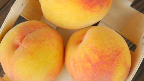 Peaches in a basket.