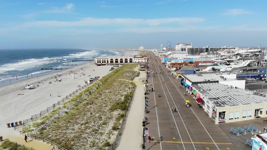 Aerial View Of Ocean City, New Jersey Boardwalk and Beaches