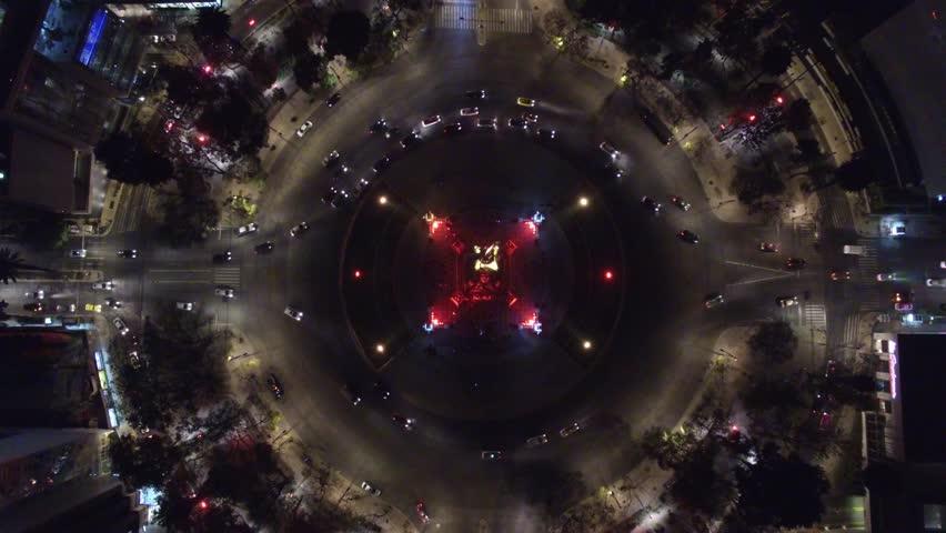 Top view hovering above the Angel de la Independencia in Mexico city