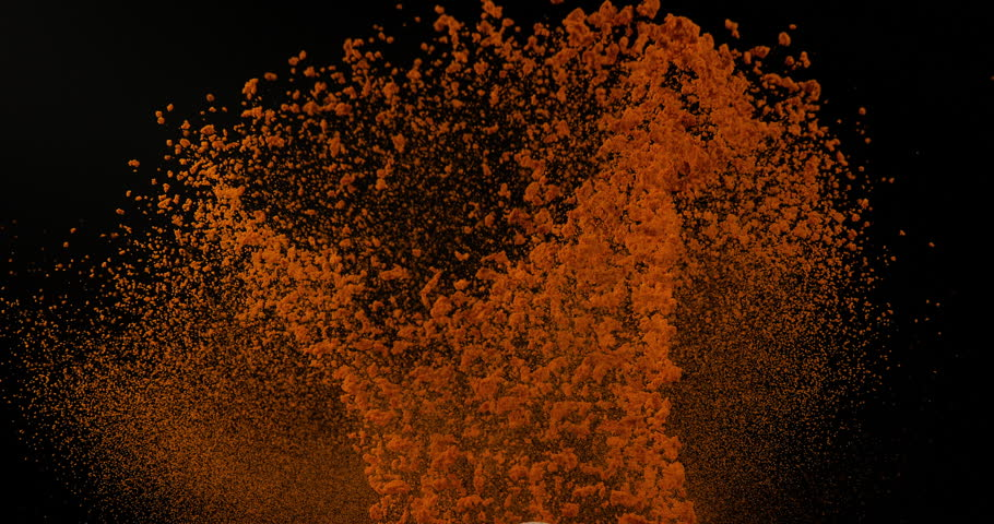 Turmeric, curcuma longa, Powder falling against Black Background, Indian Spice, Slow Motion 4K