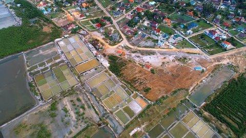 aerial view of the salt farms in Dar es salaam, Tanzania