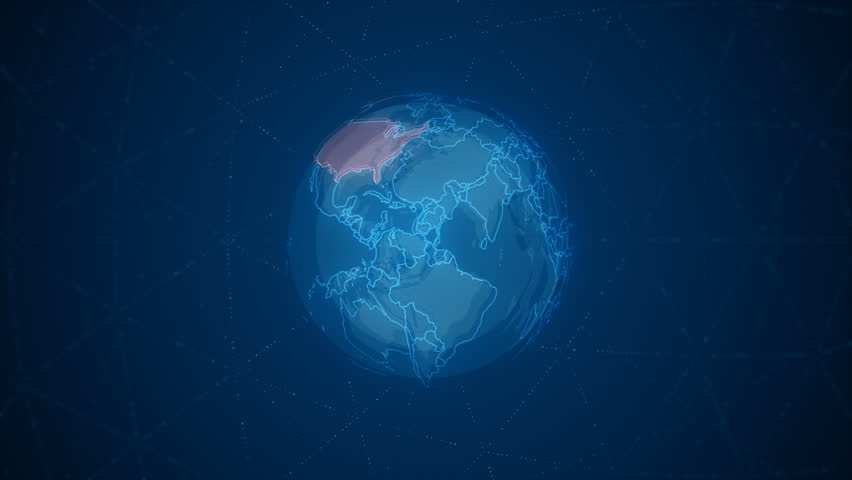 Motion animation Earth rotating around its axis with detailed map of the United States. #1014544940