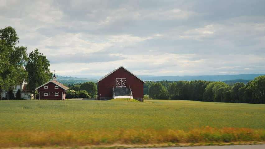 Beautiful landscape of rural Norway. View from the window of the bus