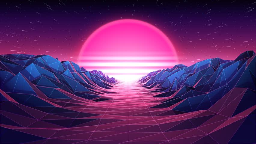 Retro futuristic background 80s style | Shutterstock HD Video #1014564956