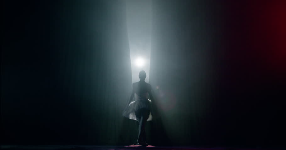 Curtain Opens as Ballerina Entering Stage For Performance Spectacle Female Power Fragility Smoke Silhouette Slow Motion Red Epic