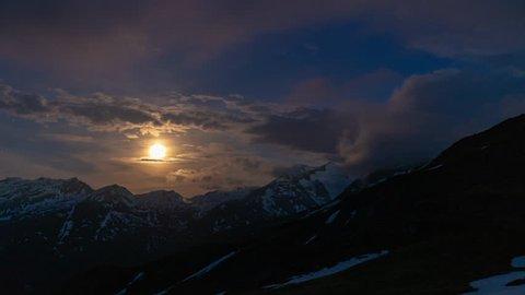Moonlight night in Alps