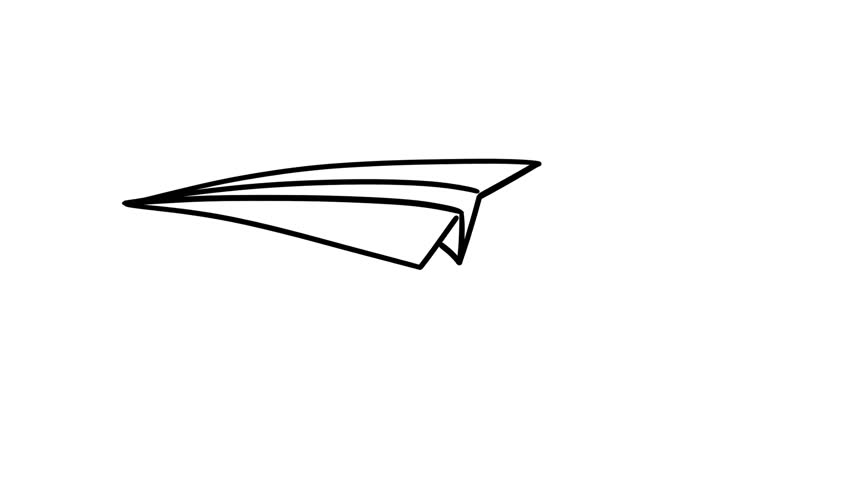 Paper plane fly. Hand drawn frame by frame cartoon animation.