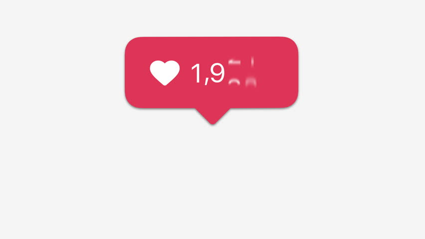 animation, instagram increasing like heart with alpha matte, 4k,