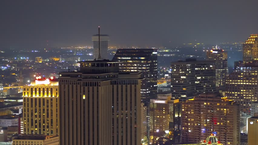 City at night aerial drone footage New Orleans