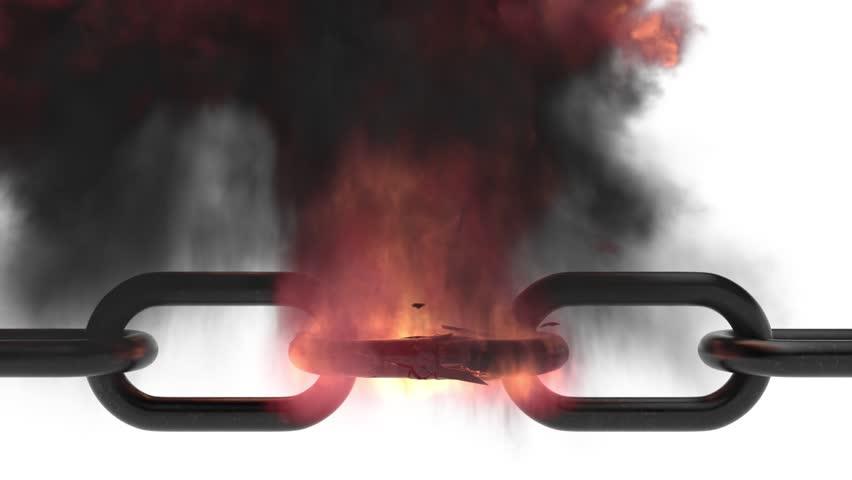 3D metal broken chain with explosion.
