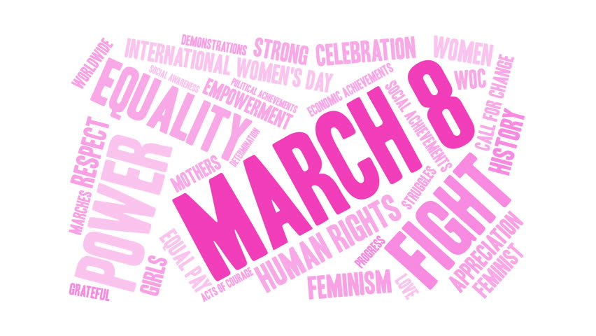 March 8 word cloud on a white background. Royalty-Free Stock Footage #1014638741