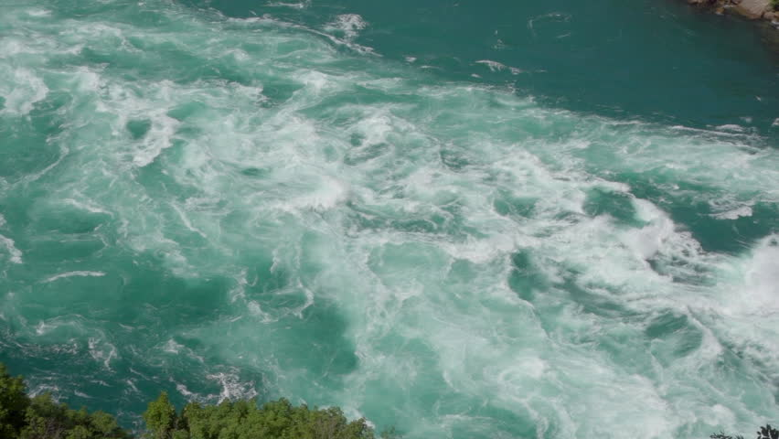 Raging Whitewater Rapids on Niagara River. View from above looking down into the Niagara Gorge with raging river. #1014654182