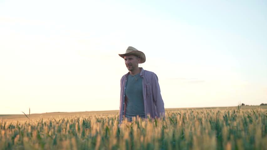 Happy farmer in hat walks in the field of wheat, glazes on ears and smiling in sunny day. 4K | Shutterstock HD Video #1014655793