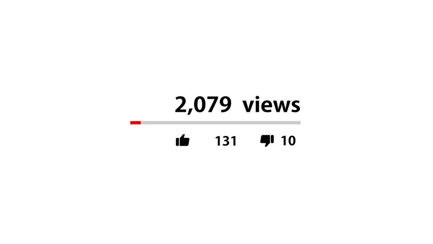 Video counter quickly increasing to 1 million views by putting thumb up button. Red running Thumb Up. vdo view counter.
