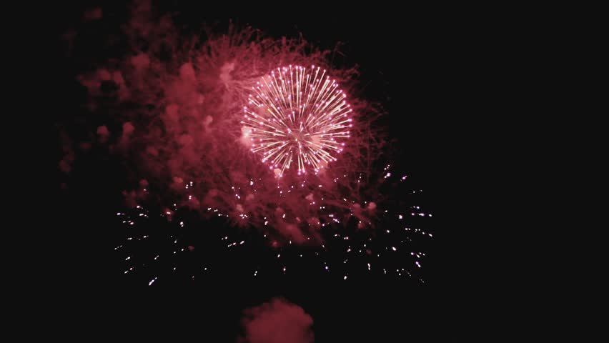 Colorful fireworks at holiday night in slow motion. | Shutterstock HD Video #1014660077