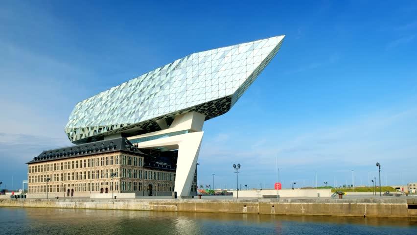 ANTWERP, BELGIUM - MAY 27, 2018: Antwerp port administration headquarters, designed by famous iranian architect Zaha Hadid, Antwerpen, Belgium