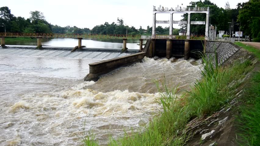 Water situation at dam and floodgate before flood season ; Chiangmai Thailand | Shutterstock HD Video #1014697292