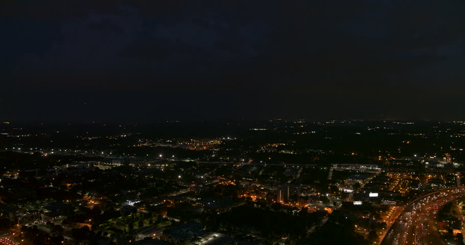 Atlanta Aerial v463 Panoramic cityscape view at night with freeway detail 7/18