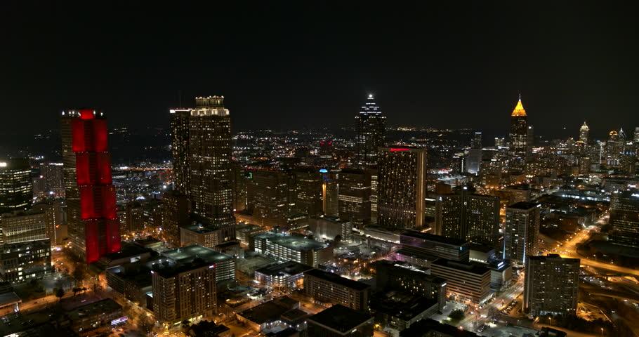 Atlanta Aerial v389 Panoramic low vantage night view of downtown 1/18
