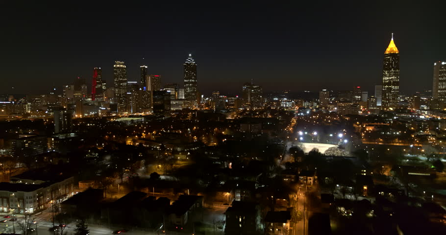 Atlanta Aerial v384 Flying over downtown, night view 1/18