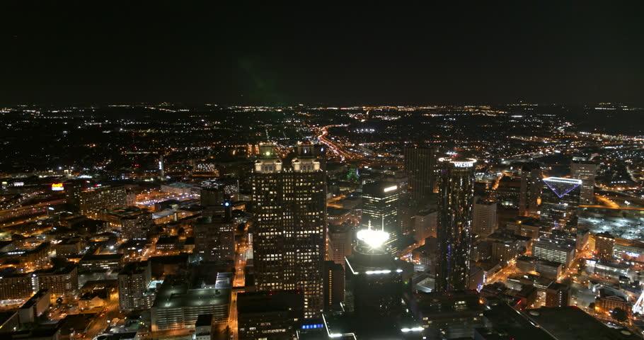 Atlanta Aerial v388 Panoramic night view of downtown 1/18