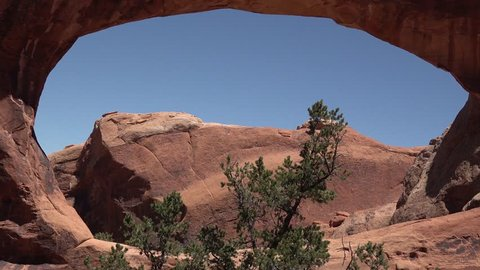 Oblique view of Double O Arch. Arches National Park, Utah, MOAB, USA